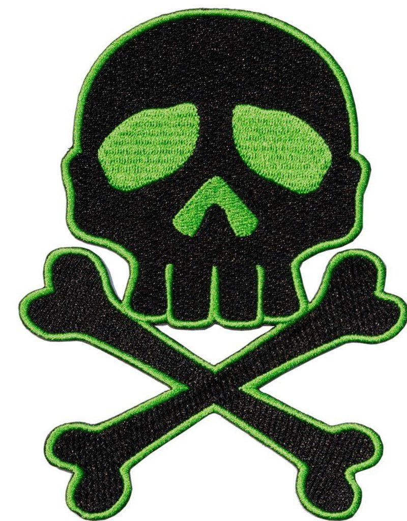 Skull Cross Bones Patch - Green