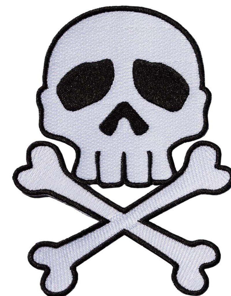 Skull Cross Bones Patch - White