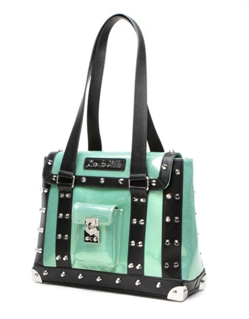 Mini Weekender Tote - Black Matte/Baby Green Sparkle