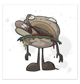 All Over Your Face - Hamburger Eats Hotdog - 8x8 Print