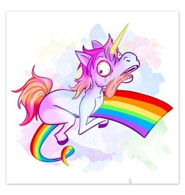 Rainbow Ride - Derpy Unicorn - 8x8 Print