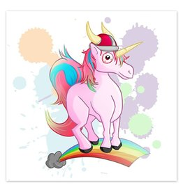 Rainbow Viking Unicorn - 8x8 Print
