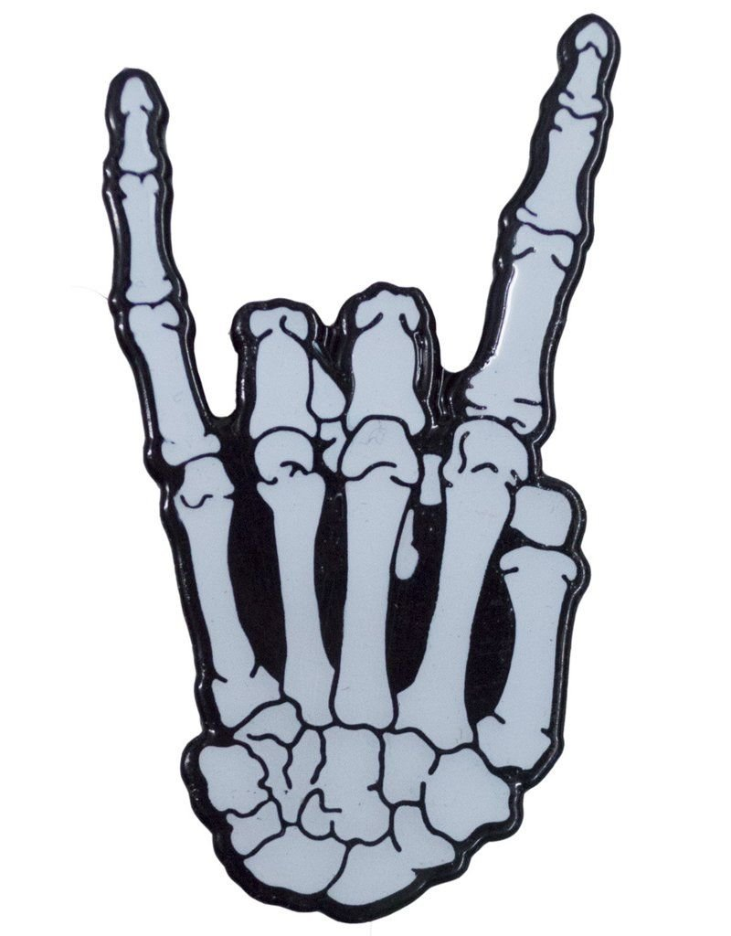 Skeleton Rock Hand Glow Enamel Pin