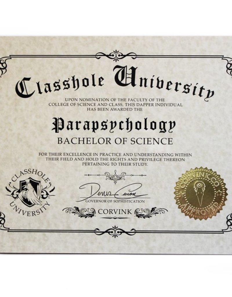 Classhole University BS Diplomas - Parapsychology