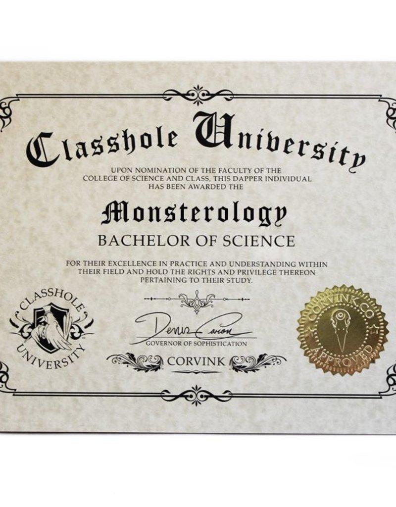 Classhole University BS Diplomas - Monsterology