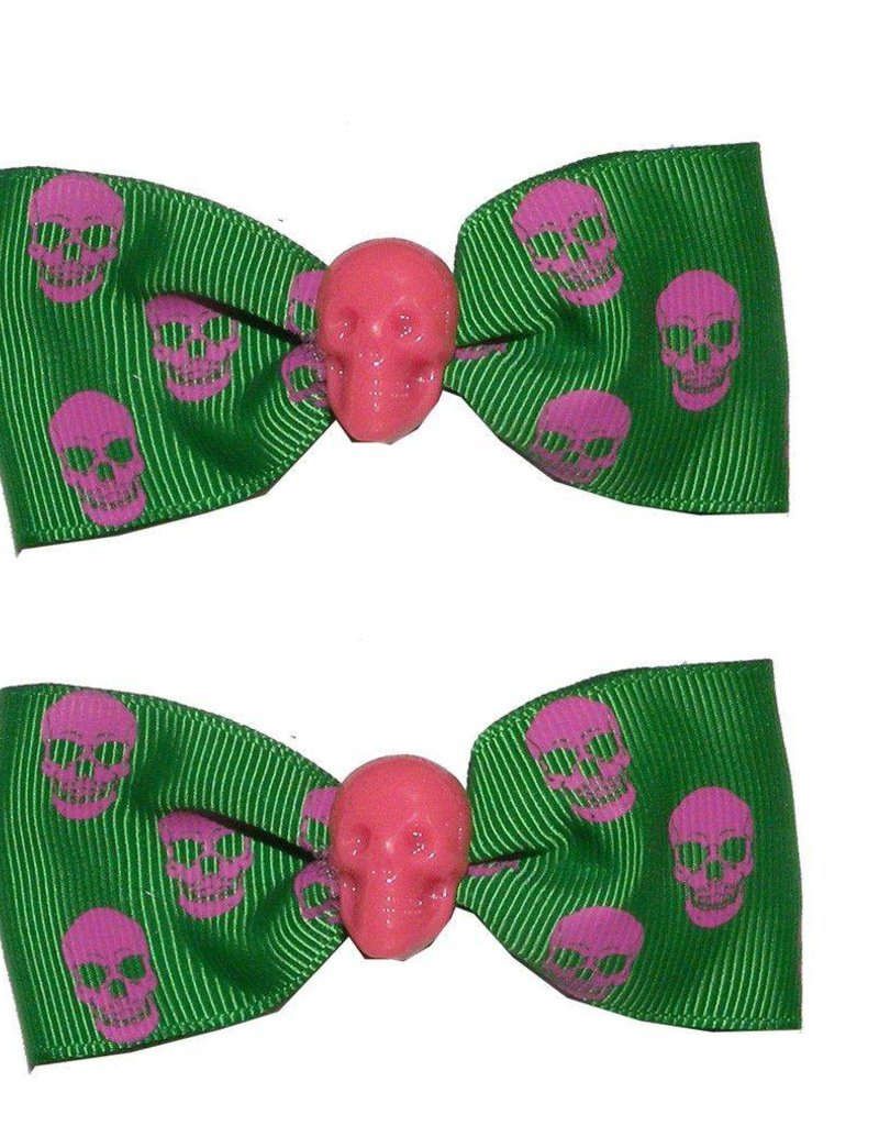 Hair Bow Pair Green Skull