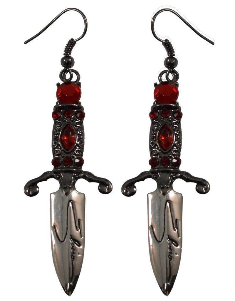 Elvira Dagger Earrings - Red