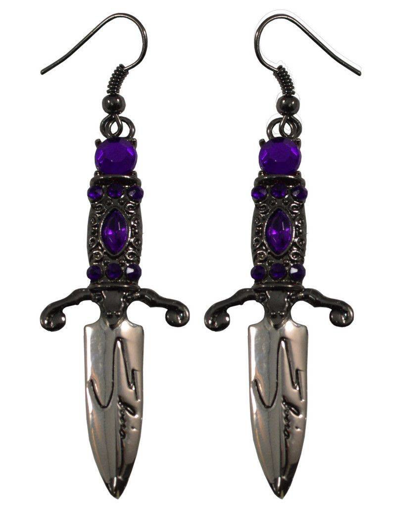Elvira Dagger Earrings - Purple