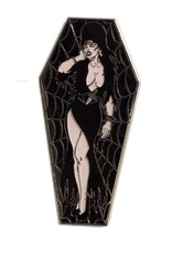 Elvira Coffin Pin - Black/Glitter