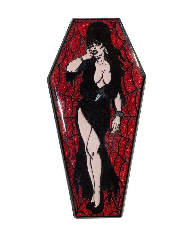 Elvira Coffin Pin - Red/Glitter