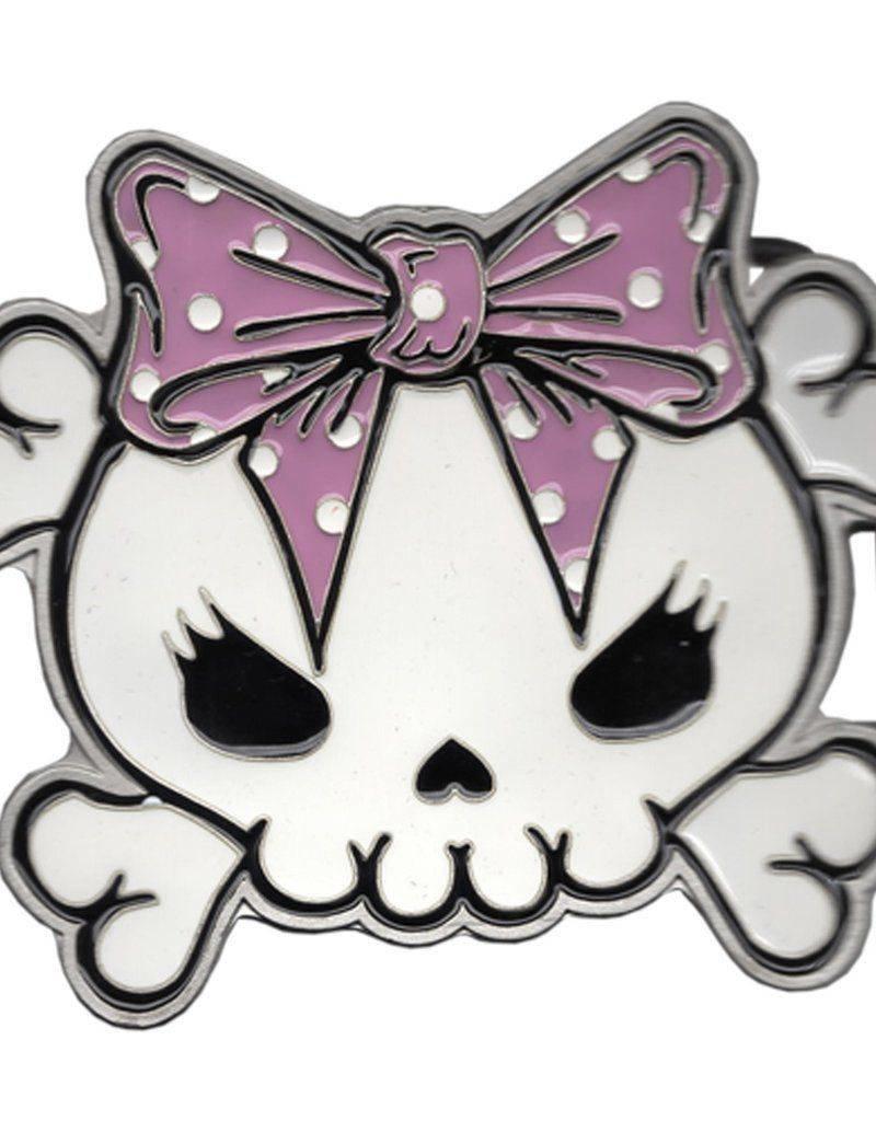 Skully Bow Belt Buckle - Pink