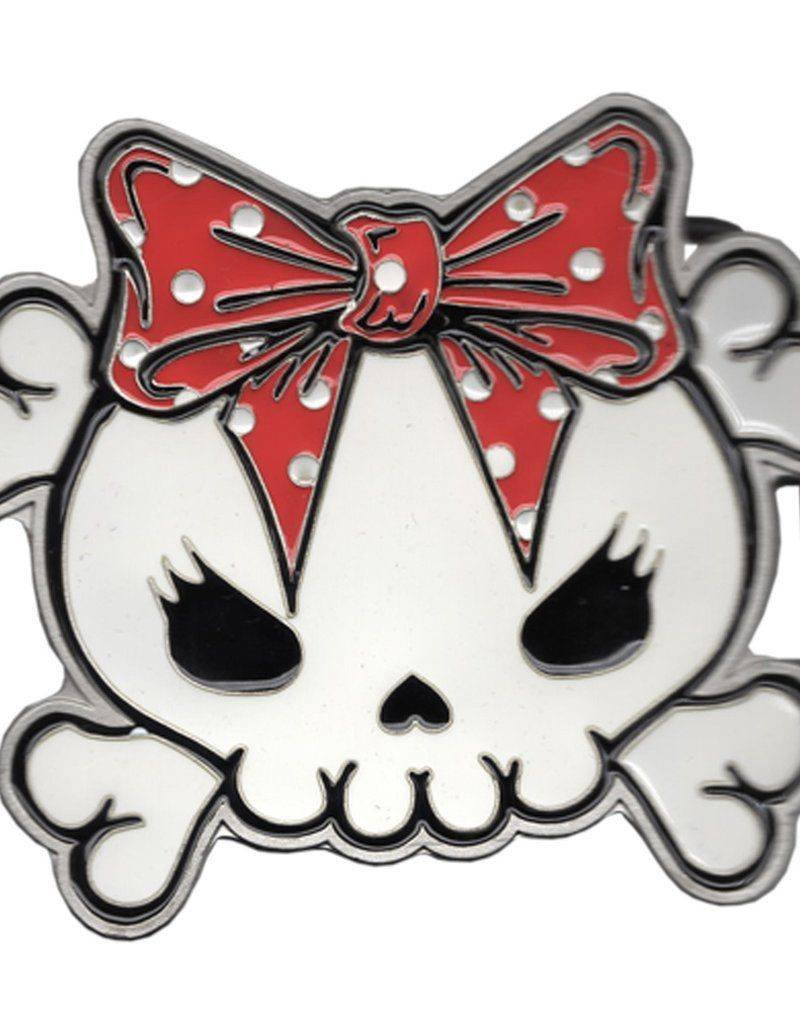 Skully Bow Belt Buckle - Red