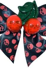 Cherry Skull Hair Bow - Red