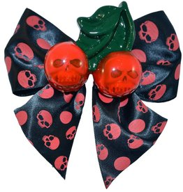 Cherry Skull Hair Bow - Red