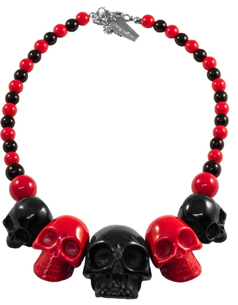 Skull Collection Necklace - 2 Tone Black/Red