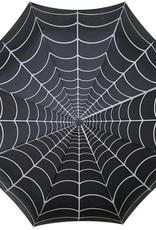 kreepsville 666 Skull Handle Umbrella - Spiderweb