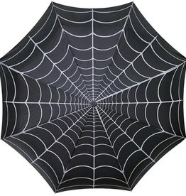 kreepsville 666 Skull Handle Umbrella - Spiderweb