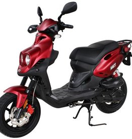 Genuine Scooters 2018 Matte Red Genuine Roughhouse Sport 50cc Moped