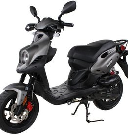 Genuine Scooters 2018 Matte Titanium Genuine Roughhouse Sport 50cc Moped