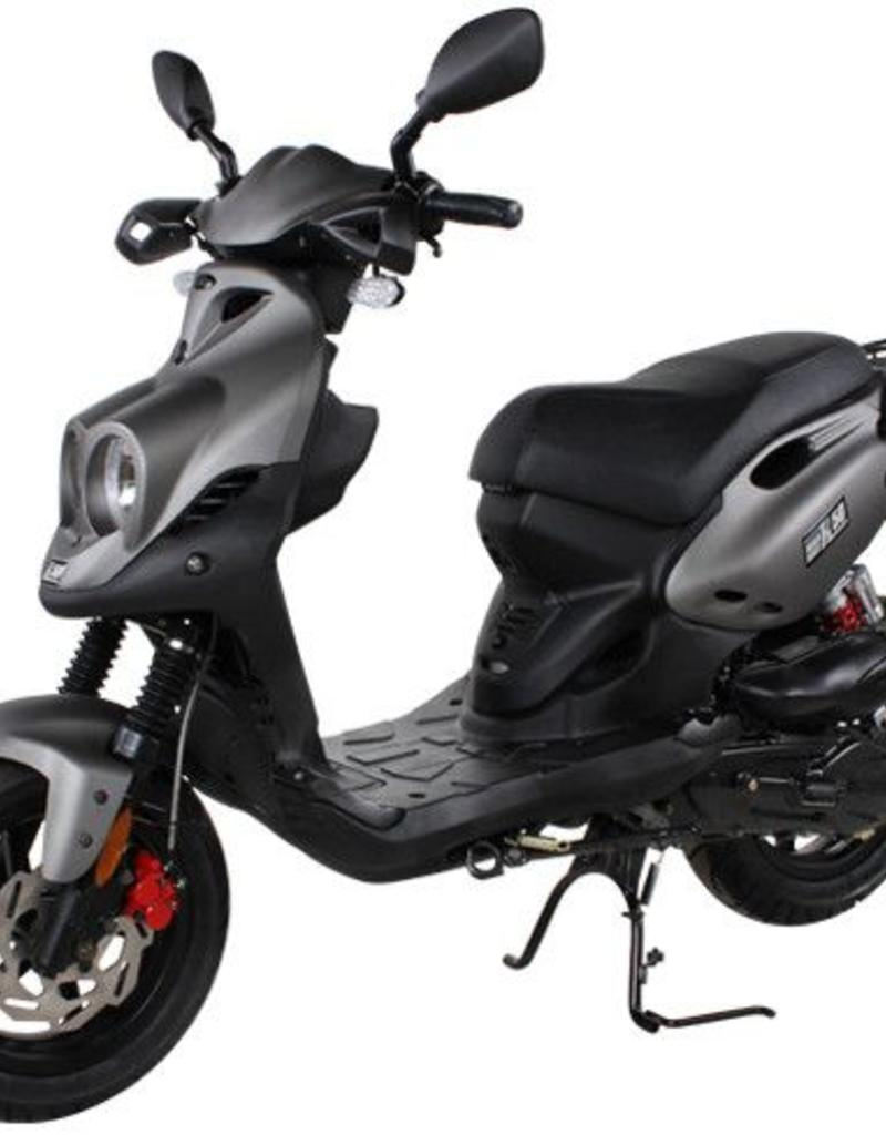 Genuine Scooters 2019 Matte Titanium Genuine Roughhouse Sport 50cc Moped