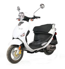 Genuine Scooters 2018 White Genuine Buddy 50cc Moped (#20 B.F.)