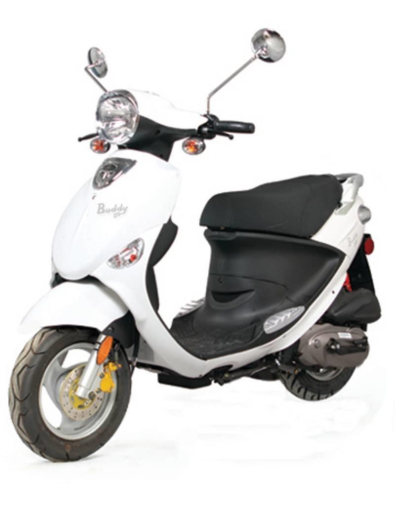 Genuine Scooters 2018 White Genuine Buddy 50cc Moped (#20 B.F.)