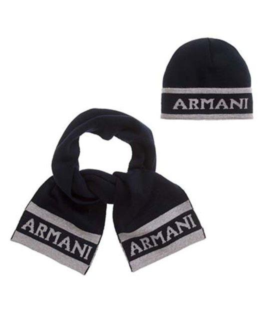 ARMANI JUNIOR ARMANI JUNIOR BABY BOYS HAT & SCARF SET