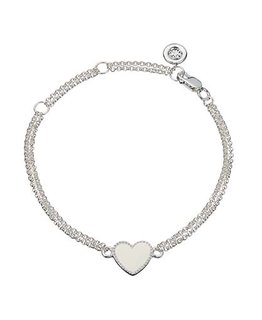 MOLLY BROWN LONDON WHITE ENAMEL HEART BRACELET