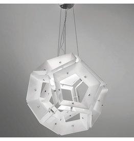 Vistosi Aurea SP 11 glass pendant in glossy white 45cm ø, 2x120W R7s.