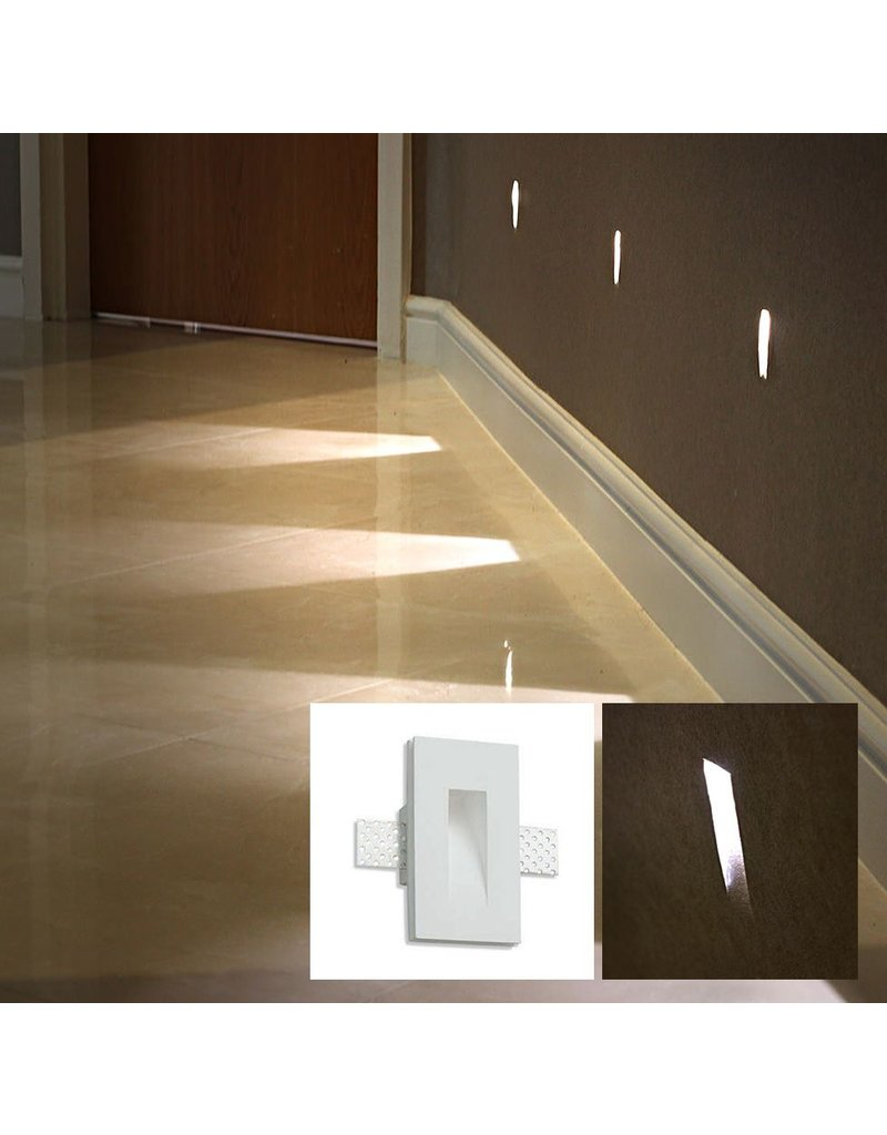 Linea Gypsum Recessed Asymetric Trimless Steplight