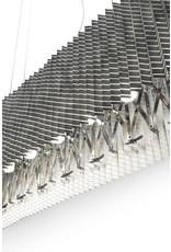 LucePlan Plisse Suspension Black 7 x 40w max B10 Candelabra Base