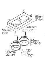 Dual Square recessed Snap-in Adjustable Downlight