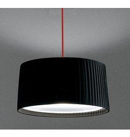 Contardi Divina SO medium pendant fixture, 2 x 70W max E27 medium base, polished chrome body & Black plissé shade w/ red cable