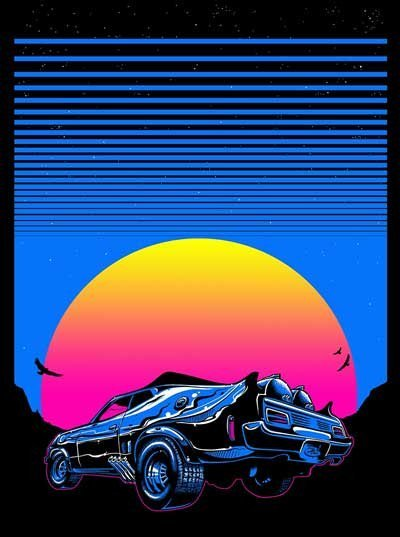 Synth Wave Invasion Poster