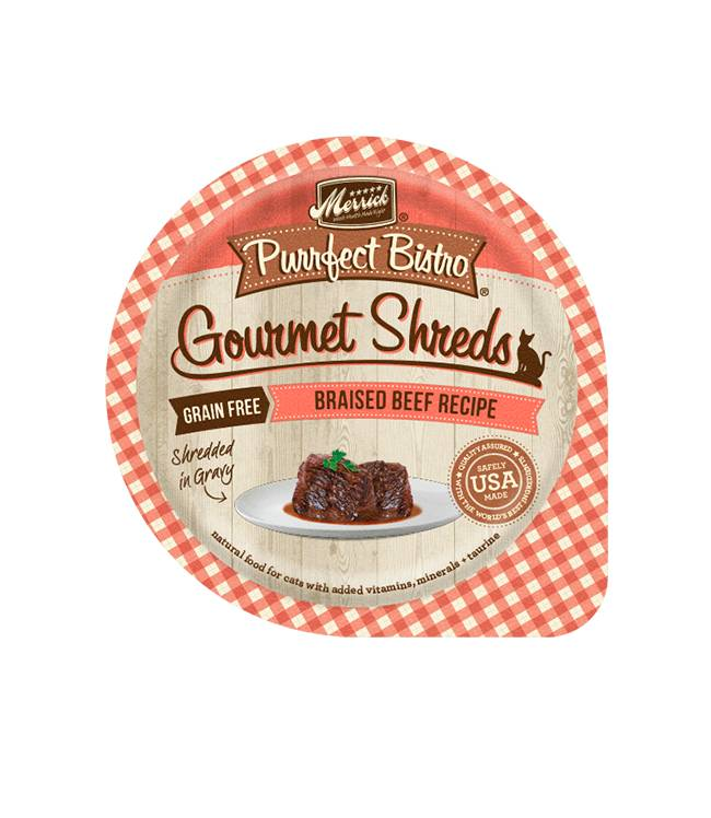 MERRICK Merrick Purrfect Bistro Gourmet Shredders Braised Beef 3.5OZ