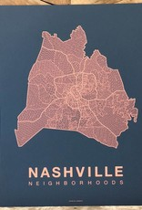 Nashville Neighborhood Map Coral on Navy
