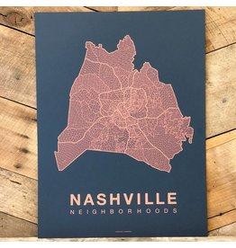 Nashville Neighborhood Map Coral on Navy