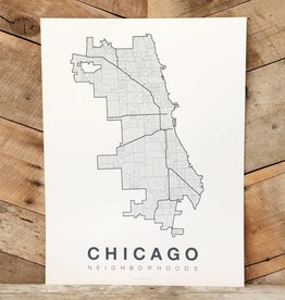 Chicago Neighborhood Map Grey-Blue on White