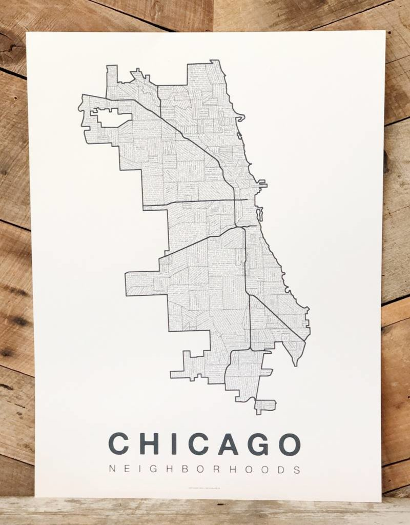 Chicago Neighborhood Map Grey-Blue on White