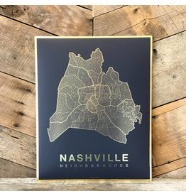 Nashville Gold Foil Map