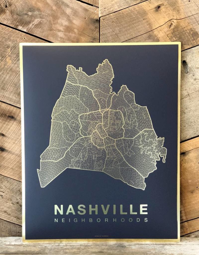 Nashville Gold Foil Map