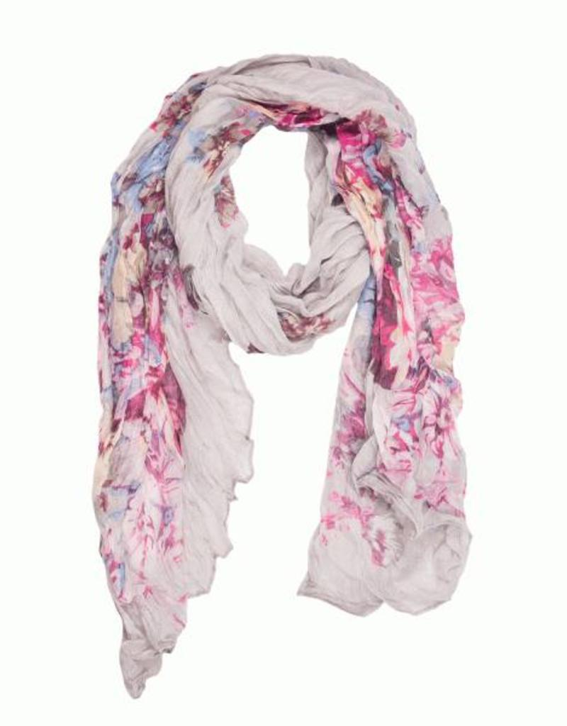 Grey Crinkle Classy Floral Scarf