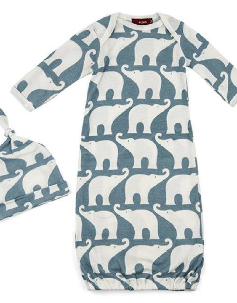 Gown and Hat Set - Blue Elephant