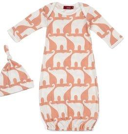 Newborn Gown & Hat Set - Rose Elephant