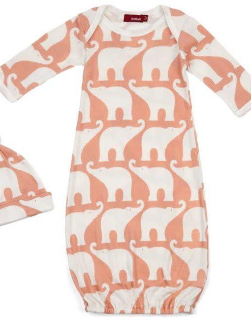 Gown & Hat Set - Rose Elephant