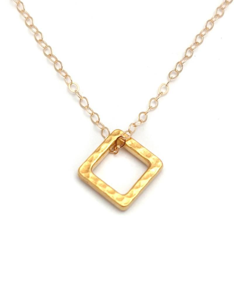 Gold Open Square Necklace