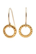 Gold Ridged Circle Earrings