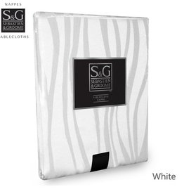 Myles International S&G Tablecloth Tiger Stripe 60x84, White