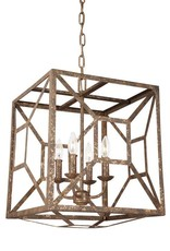 Feiss Feiss Marquelle 4-Light Chandelier - Distressed Goldleaf