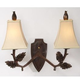 Natural Light Deer Pine Two Light Wall Sconce